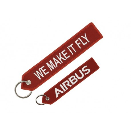 "Red Airbus ""we make it fly"" key ring"
