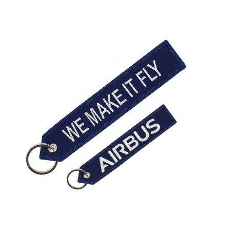 "Llavero azul Airbus ""We make it fly'"