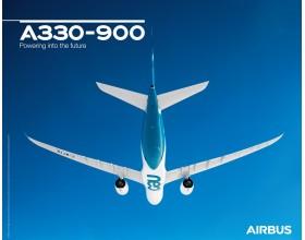 Póster A330-900 vista de vuelo