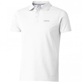 Mens white organic cotton polo shirt