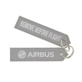 "Grey ""remove before flight"" key ring"