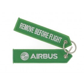 "Llavero verde ""remove before flight"" 130x30mm"