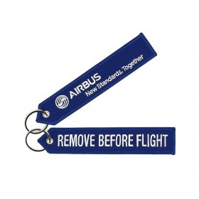 "Blue Airbus ""remove before flight"" key ring"